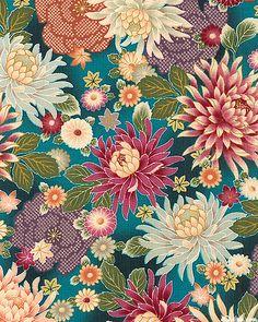 eQuilter Hime - Chrysanthemum Garden - Teal/Gold