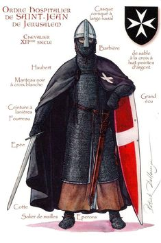 Knight of the Hospitaller Order of St. Century Monks treating Pilgrims at a Hospital near St. John the Baptist Church in Jerusalem were organized into an Order of Knighthood by Raymond dù Puy - by Patrick Dallanégra. Medieval Knight, Medieval Armor, Medieval Fantasy, Armadura Medieval, Crusader Knight, Knight Armor, Knights Hospitaller, Knights Templar, Norman Knight