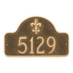 Montague Metal Products Fleur de Lis Prestige Arch Standard One Line Address Plaque Finish: Sea Blue / Silver