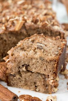 Cinnamon Pecan Banana Bread is such an easy recipe! Yummy banana bread filled with cinnamon spices and pecans with a cinnamon glaze!!