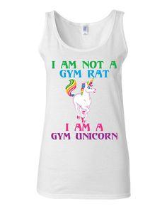 Work Out Clothes - I Am Not A Gym Rat I Am A Gym Unicorn - Funny Workout Shirt by KimFitFab, $22.00