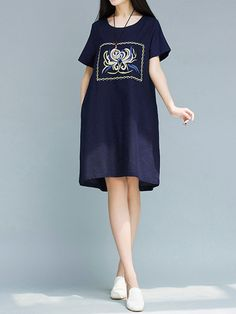 Vintage Floral Embroidered Short Sleeve O-neck Dress For Women