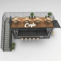 Design And Build A Container Pop Up Cafe, Restaurant, and Bar Café Design, Design Patio, Kiosk Design, Cafe Shop Design, Cafe Interior Design, Small Cafe Design, Food Truck Interior, Deco Restaurant, Restaurant Design