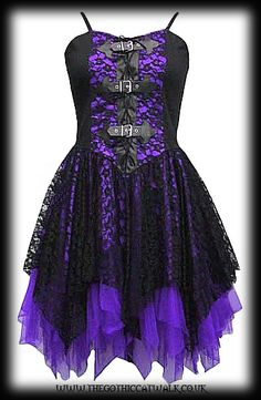 Black & Purple Lace Gothic Dress with Buckles