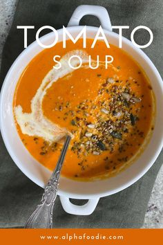 This homemade creamy tomato soup is made with a selection of roasted tomatoes, herbs, garlic and onion, and cream (or coconut cream for vegan tomato soup). A simple, fresh tomato soup that packs a flavor punch in under 10 ingredients. Plus, this recipe is gluten-free and can be made keto, paleo, low sodium, and/or dairy-free with just a few tweaks! Best Tomato Soup, Vegan Tomato Soup, Cream Of Tomato Soup, Roasted Tomato Soup, Roasted Tomatoes, Soup Recipes, Vegetarian Recipes, Healthy Recipes, Dairy Free