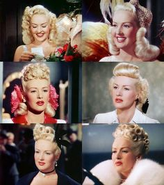 Betty Grable in The Dolly Sisters 1945 1940s Hairstyles Short, Vintage Hairstyles, Wedding Hairstyles, Vintage Glamour, Vintage Beauty, Vintage Makeup, Golden Age Of Hollywood, Hollywood Glamour, Pelo Retro