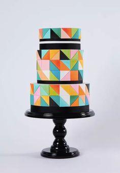 Geometric cake i;m sure this looks better than it tastes , fondant frost :(