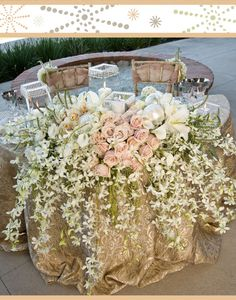 those colors! best way to do a sweetheart table - floral overload! ...Dust Pink Centerpiece with Dendrobium