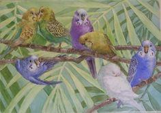 "Parakeet Party by Joanna Burch porcelain ~ 10"" x 14"""