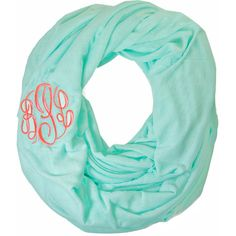 Monogram Infinity Scarf : HandPicked ❤ liked on Polyvore featuring accessories, scarves, infinity loop scarves, tube scarves, monogrammed infinity scarf, monogram shawl and round scarf