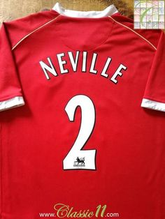 Official Nike Manchester United home football shirt from the 2006/2007 season. Complete with Neville #2 on the back of the shirt in Premier League lettering.