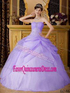 Strapless Lilac Ball Gown Beaded Quinceanera Gown Dresses in Organza