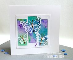 Memory Box Butterfly Spectacle card by Jean Okimoto. Simple Pleasures Rubber Stamps and Scrapbooking, Colorado Springs, CO Memory Box Cards, Alcohol Ink Crafts, Embossed Cards, Watercolor Cards, Watercolour Butterfly, Butterfly Cards, Card Sketches, Sympathy Cards, Homemade Cards
