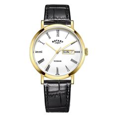 e11333eb2d38 Rotary GS05303 01 Men s Watch Classic White Dial Gold Case And Black  Leather Strap