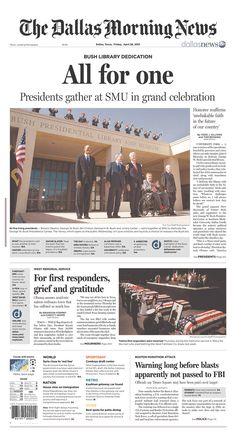 """All for one"" from the Dallas Morning News on the Bush library dedication"