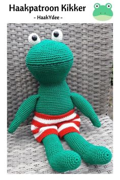 Crochet pattern Frog : A free Dutch crochet pattern of a frog. Do you want to crochet this frog amigurumi too? Then read more about the Frog crochet pattern. Crochet Animals, Crochet Toys, Free Crochet, Crochet Frog, Flamingo Pattern, Celebration Quotes, Kermit, Cute Baby Animals, Single Crochet