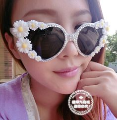 Chic white round flower daisy sunglasses with silver crystals,handmade sunglass,shop cheap fashion sunglass at http://Costwe.com/fashion-sunglasses-c-68.html