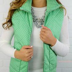 Strolling Along Green Polka Dot Puffer Vest
