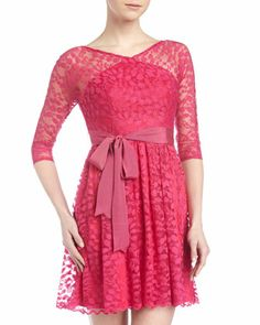 I don't usually love lace... But when I do... it's fucsia! :)) Alexia Admor Three-Quarter Sleeve Lace Dress