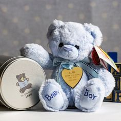 Personalised Baby Boy Teddy and Maple Wooden Heart in a Tin