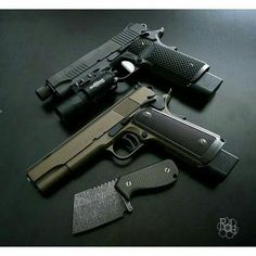 Sig Sauer 1911 commander tactical w/tb & Colt National Match custom. Nicely done.