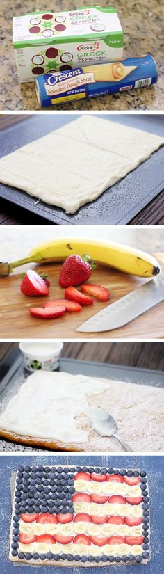 Fruit-Flag-Pizza-Recipe-By-Cupcakepedia, banana, strawberry, pizza, baking, dessert, american flag, food