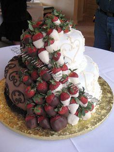 bride & groom's cake put in one - so unique!