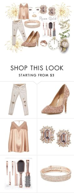 """""""new year"""" by jennross76 ❤ liked on Polyvore featuring Current/Elliott, Head Over Heels by Dune, River Island, Anne Klein, Effy Jewelry, gold, Pink, rose, rosegold and NewYearsEve"""