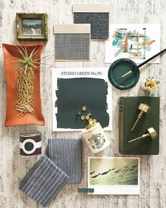 "Happy First Day of Spring! We are excited to announce our Spring Trend Colours, starting with #StudioGreen. We tapped @Ginny_Macdonald to create this moodboard, who used the colour in her home office. She said ""I love the idea of the room feeling like an old English library and the depth of colour in #StudioGreen allows for that."" #farrowandball"