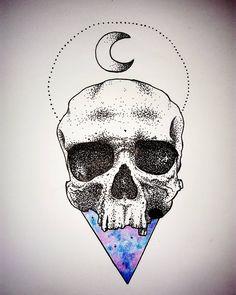 back to skull  #skulltattoo #galaxytattoo #tattooinspiration #tattooproject #galaxy #skull #moon #dotwork