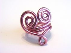 Swirly Heart Wire Ring with Loop- Custom Made