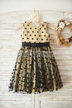 Gold Sequin Black Polka Dot Tulle Wedding Flower Girl Dress with Big Bow