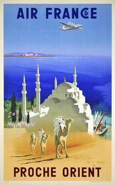 PROCHE ORIENT - Vintage poster....reépinglé par Maurie Daboux .•*`*•. ❥