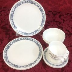 CORELLE CORNING Old Town Blue 16 pc: 4 plates 4 fruit bowls 4 cups 4 saucers #Corellecorning