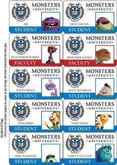 Monster Tag Stickers, Monsters Inc, Stickers - Free Printable Ideas from Family Shoppingbag.com