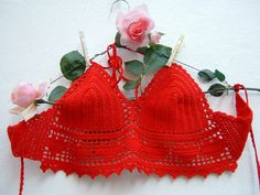 Top rosso all'uncinetto-Top crochet hippie chic di cotone- Festival…
