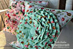 Romantic Ruffle Flower Pillow Cover with HeatnBond Fusible Fleece
