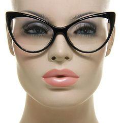 Nikita Black Cat Eye Clear Lens Glasses Super Retro Womens Fashion