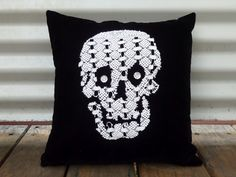 3. Doily Cushion - 10 Cool and Creative DIY Skull Craft Projects ... | All Women Stalk