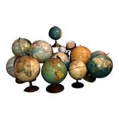Vintage Globes and Lamp - Set of 15 | Chairish Perrier Jouet, Vintage Globe, Mid Century Modern Decor, Tea Stains, Lamp Sets, Antique Items, Globes, Office Decor, Vintage Antiques