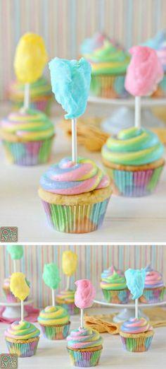 Cotton Candy Cupcakes recipe #cottoncandy #cupcakes