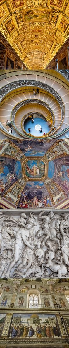 Two of #Italy's finest artistic institutions, the #VaticanMuseums and #SistineChapel. Above is an illuminated view of the Hall of Maps, followed by the Spiral Staircase, ceiling frescos, a relief sculpture depicting a battle, and finally 'The Delivery of the Keys'.