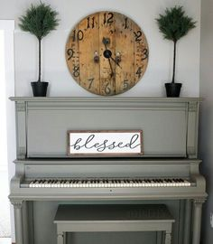 Painted Piano | Rustic Clock Above Piano | Piano Decor