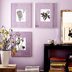25 BOLD Ways To Do Color In Your Apartment #refinery29  http://www.refinery29.com/colorful-decor#slide-3  Three purple prints are better than four.
