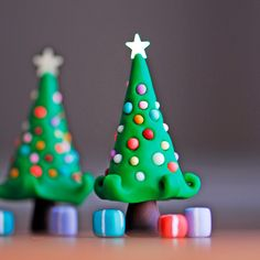 fimo...... kids could have fun making these...or make out of fondant for a cake decoration