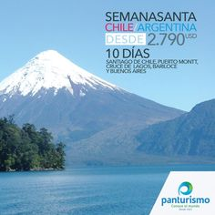 El mejor plan para la Semana Santa del 2016 es visitar Chile y Argentina, serán 10 días por los lugares más hermosos del cono sur. INCLUYE TIQUETE AÉREO. Reservas y pagos antes del 30 de noviembre. No te quedes por fuera y haz tus reservas. Llámanos en Cali al 668 2255 y en Bogotá 606 9779