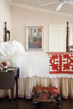 quilt & wallpaper stool and binding on bed skirt--charming.  Fresh bedroom with the red and white warmed up with beige tones