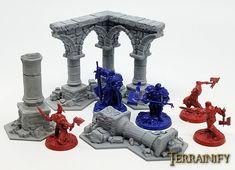 Warhammer Shadespire Terrain Set - Tabletop Wargaming, D&D, printed ruins Warhammer Aos, Fantasy Miniatures, Underworld, Creative Crafts, Halloween Party, Medieval, Chess Sets, Painting, Gaming