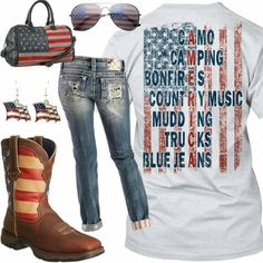 American Flag Outfit - Real Country Ladies I need this shirt Country Girl Outfits, Country Girl Shirts, Country Wear, Cute N Country, Country Girl Style, Country Fashion, Cowgirl Outfits, Western Outfits, Shirts For Girls