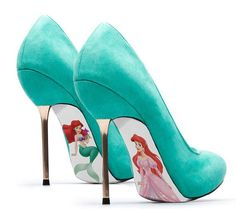 Custom Hand Painted Little Mermaid Pumps. I need these omg I want them I would never wear them in fear of ruining them but amazing